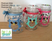 Personalized candy jar - cute owl with name or monogram, polka dots  - Great teacher or Mother's Day gift, choose your colors