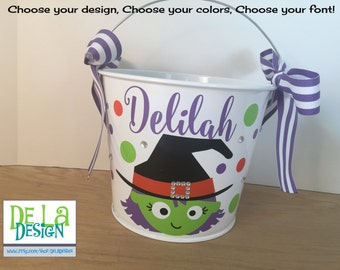 Cute Halloween Witch design Personalized halloween trick or treat metal bucket, 5 quart pail, LOTS of colors, gift basket, treat bag, candy