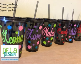 Quantity 12 Personalized w/name acrylic tumbler w/lid - polka dots, Available in skinny, standard, sport bottle, mason, kiddie cup & XL cup