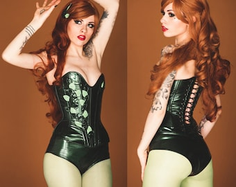 "S/M Poison IVY 24.5"" overbust corset and high waisted underwear (steel boned) Artifice (ready to ship)"