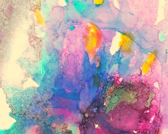Alcohol Ink Painting, Small Original Painting, Pink Wall Art, Fantasy Art Work, Expressionist Art, Abstract Art For Her, Purple Art Gift