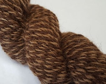 Alpaca yarn - hand spun - Tweedy in Medium and Dark Brown