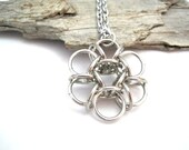 Silver Flower Necklace - Pendant - Pendant Necklace - Chainmaille Pendant Necklace - Chainmail Jewellery - Chainmail