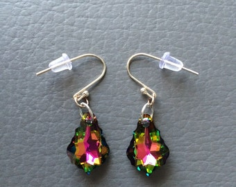 Swarovski Crystal Vitrail Baroque earrings with silver earwires.