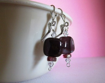 Pretty mookite stones and crystal earrings with silver toned lever back earwires