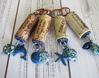 Wine Cork Keychains group of four Beach themed charms just for you and your friends