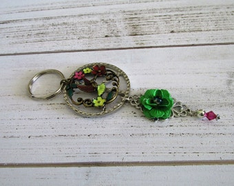 KEY CHAIN flowers and birds and a cute green flower