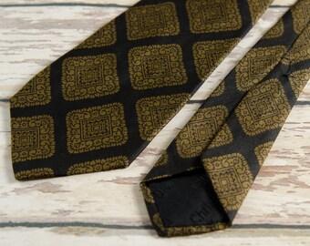 """Vintage Necktie Dior Men's Silk Foulard 1950s 3"""" Wide Gold Black - B5"""