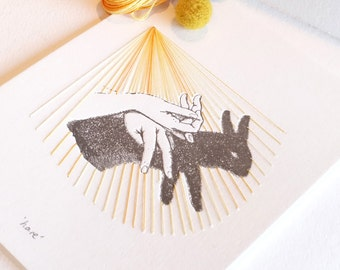 Letterpress hand shadow puppet print stitching, textile art, hand stitched, mixed media wall art, very limited edition HARE