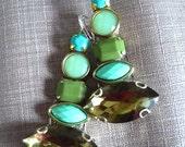 Multicolor Earrings, Statement, Catwalk, olive, olive green, green, turquoise, olive earrings, mint earrings,  teardrop  long earrings,
