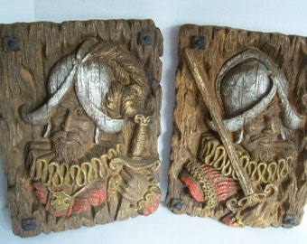 Vintage Spanish Conquistador, Musketeer, Wall Plaques Hanging c1960s Homco