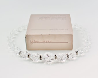Vintage 1985 Avon Ice Facets RARE Clear Crystal Fluted Lucite Beaded Captive Rhinestone Rondelle Necklace in Original Box NIB