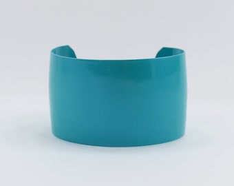 Vintage 1986 Avon Neon Brights Teal Blue Turquoise Aqua Wide Metallic Enamel Rocker Retro Metal Cuff Bracelet in Original Box NIB