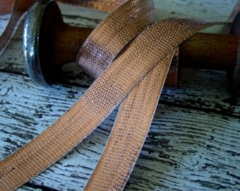 Lovely Old Vintage/Antique French Copper colored Metal Ribbon, one yard with more available