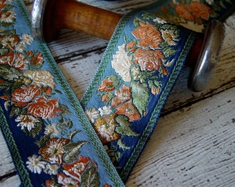 Beautiful Antique/Vintage Brocade Ribbon in blue tones, peach, cream, one yard