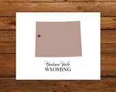 Wyoming State Love Map Silhouette 8x10 Print - Customized