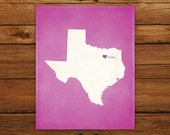 Customized Texas 8 x 10 State Art Print, State Map, Heart, Silhouette, Aged-Look Print
