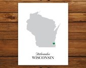 Wisconsin State Love Map Silhouette 8x10 Print - Customized