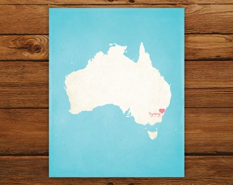 Customized Australia 8 x 10 Country Art Print, Country Map, Heart, Silhouette, Aged-Look Print