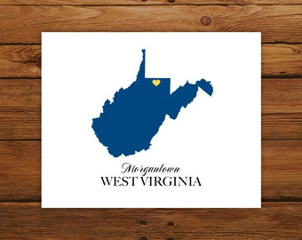 West Virginia State Love Map Silhouette 8x10 Print - Customized