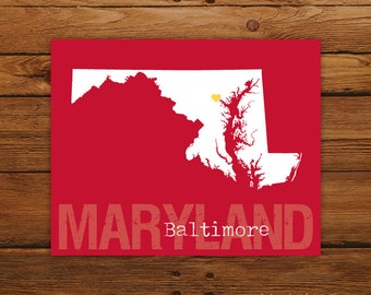 Custom Maryland, Personalized State Print, State Love, State Map, Country, Heart, Silhouette, 8 x 10 Wall Art Print