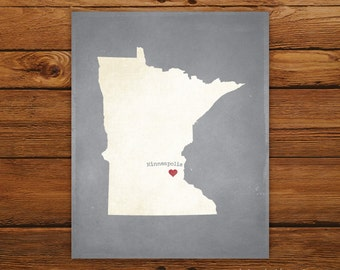 Customized Minnesota 8 x 10 State Art Print, State Map, Heart, Silhouette, Aged-Look Print