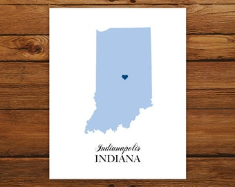 Indiana State Map Silhouette 8x10 Print - Customized
