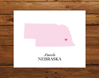 Nebraska State Love Map Silhouette 8x10 Print - Customized