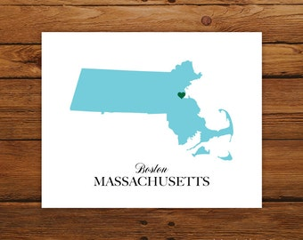 Massachusetts State Love Map Silhouette 8x10 Print - Customized