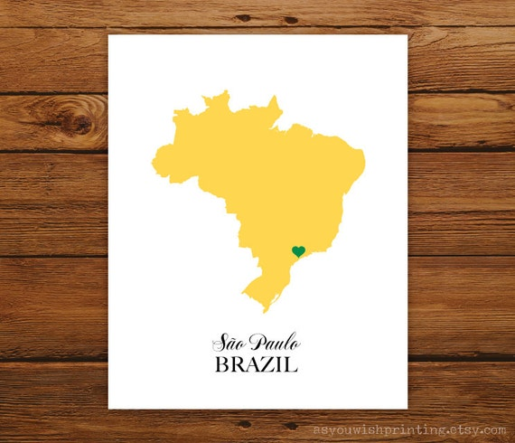 Brazil Country Love Map Silhouette 8x10 Print - Customized