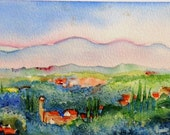 Tuscany, landscape near Buggiani   - Original Watercolor painting  Italy