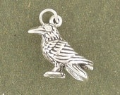 Raven Crow Bird Charm Pendant 3d Sterling Silver 925