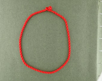 """SALE Twisted Silk Cord Red Necklace 15-16"""" Length 3mm Marked 70% off Regular Price"""