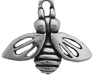 Bee Charm Pendant Sterling Silver 925 Bumble Honey