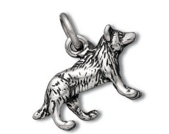Wolf Charm Pendant Sterling Silver Animal 3D