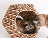 The Cat Ball a Designer Cat Cave Bed in Brown Stripes Cotton Fabric