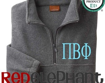 Pi Beta Phi Sorority Pullover Jacket, Monogrammed Sorority Jacket, Monogrammed Half Zip Jacket, Monogrammed Jacket, Fleece, UNISEX, Licensed