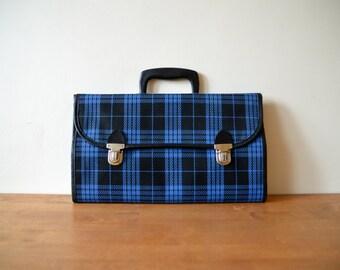 Men's Handbag Blue Tartan Plaid 1980s Travel Market Bag Vintage Tote Bag