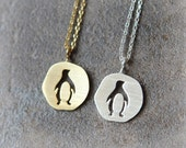 Cutout Penguin Necklace / choose your color, gold and silver