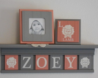 Lamb Baby Name Blocks . Lamb Nursery Name Letters . Plaques Coral / Gray . Personalized Name Plaques . Grey Shelf
