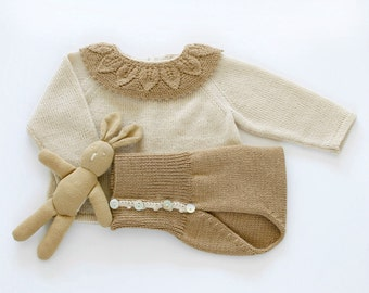 Knit baby set in pearl/camel. Sweater with lace collar and diaper cover. 100% merino wool. READY to SHIP size NEWBORN.