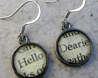 Word Earrings - Hello Dearie Earrings - Once Upon A Time Earrings - Fairy Tale Earrings