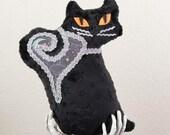 Fraidy Cat Halloween Plush Silver Familiar