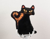 Fraidy Cat Halloween Plush Vintage Salem