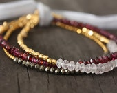 Gemstone Moonstone, Garnet, or Pyrite Gold Stacking Bracelet