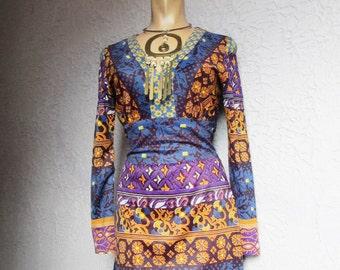 60's Vintage Psychedelic knit Mini Dress sm/med