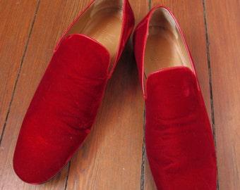 Vintage Men's Designer Red Velvet Shoes 10