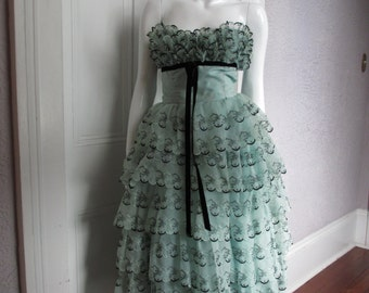 Vintage 50s Southern Bell Organdy Party  Prom dress XS
