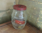 Vintage Hardie's Highland Confections Jar with Metal Lid and Label / Hardie's Candy Jar Pittsburgh / Barrel Shaped Candy Jar /Rare Candy Jar