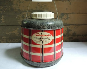 Vintage Flamingo Fiberglass Insulated Jug / Plaid Insulated Jug / Camping Thermos / Hot and Cold Jug / Retro Picnic Jug Thermos / Poloron